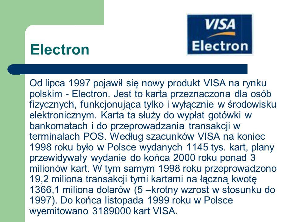Electron Od lipca 1997 pojawił się nowy produkt VISA na rynku polskim - Electron. Jest to karta przeznaczona dla osób fizycznych, funkcjonująca tylko