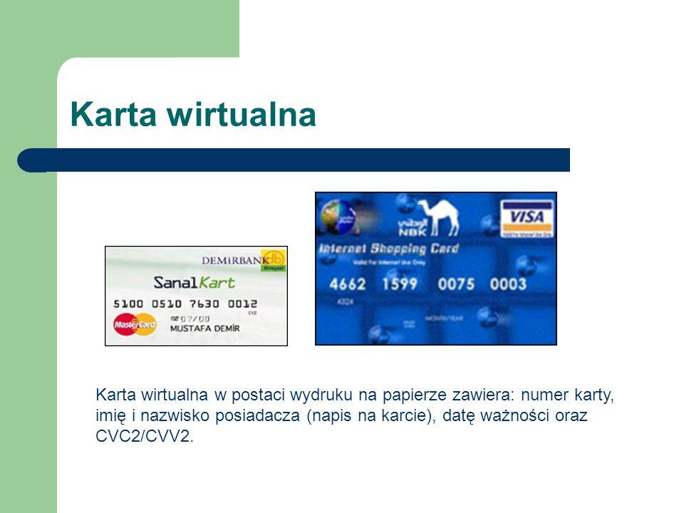 Karta wirtualna Karta wirtualna w postaci wydruku na papierze zawiera: numer karty, imię i nazwisko posiadacza (napis na karcie), datę ważności oraz C