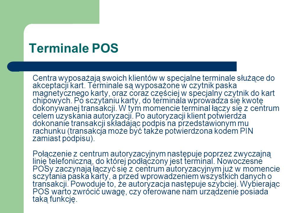 Terminale POS Centra wyposażają swoich klientów w specjalne terminale służące do akceptacji kart. Terminale są wyposażone w czytnik paska magnetyczneg