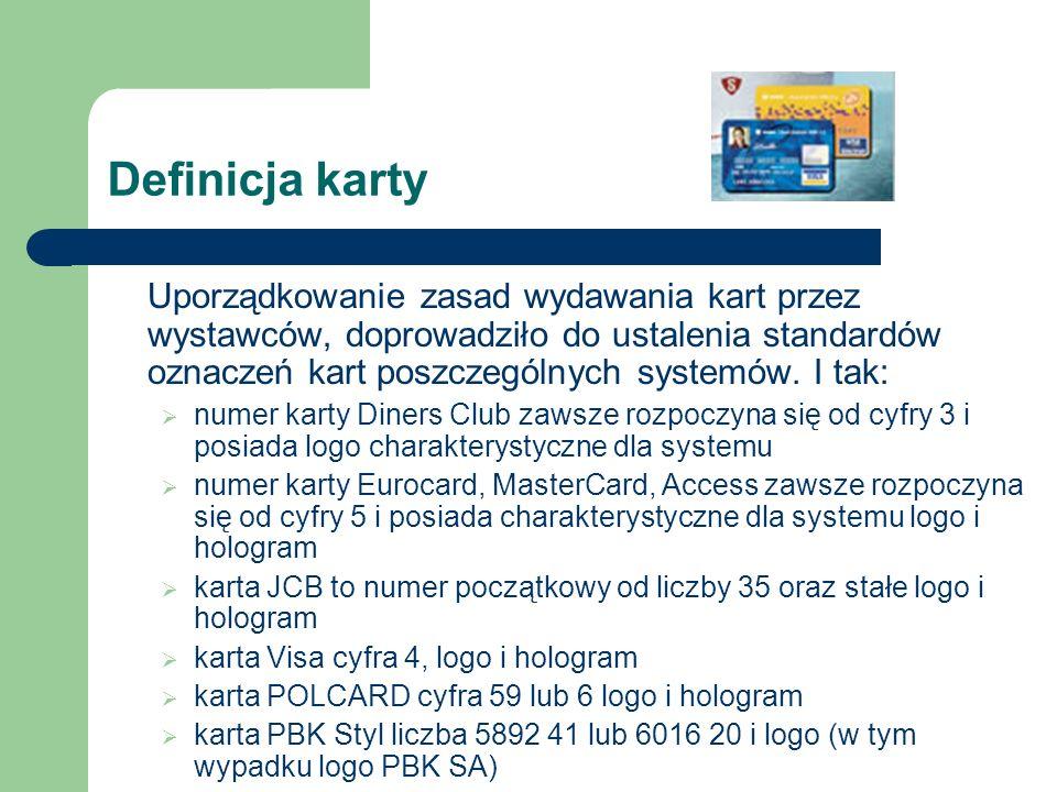 Typy kart Niezwykle dynamiczny rozwój rynku kart bankowych spowodował ich dużą różnorodność w zależności od funkcji, rodzaju rachunku do jakiego zostały wydane, zasięgu terytorialnego, sposobu zapisu danych i sposobu rozliczania transakcji.