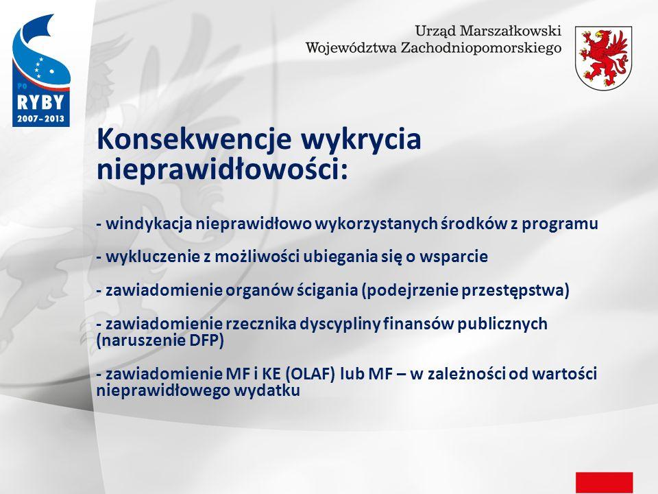 Konsekwencje wykrycia nieprawidłowości: - windykacja nieprawidłowo wykorzystanych środków z programu - wykluczenie z możliwości ubiegania się o wsparcie - zawiadomienie organów ścigania (podejrzenie przestępstwa) - zawiadomienie rzecznika dyscypliny finansów publicznych (naruszenie DFP) - zawiadomienie MF i KE (OLAF) lub MF – w zależności od wartości nieprawidłowego wydatku