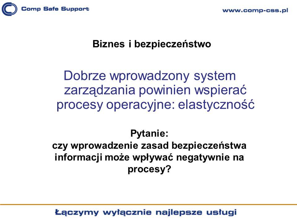 Biznes i bezpieczeństwo Dobrze wprowadzony system zarządzania powinien wspierać procesy operacyjne: elastyczność Pytanie: czy wprowadzenie zasad bezpi