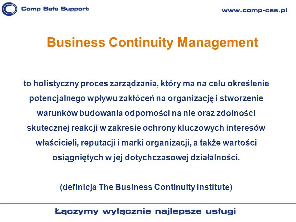 Business Continuity Management to holistyczny proces zarządzania, który ma na celu określenie potencjalnego wpływu zakłóceń na organizację i stworzeni