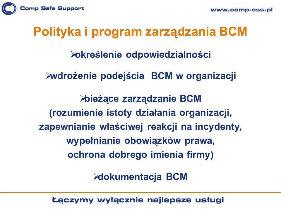 Polityka i program zarządzania BCM określenie odpowiedzialności wdrożenie podejścia BCM w organizacji bieżące zarządzanie BCM (rozumienie istoty dział