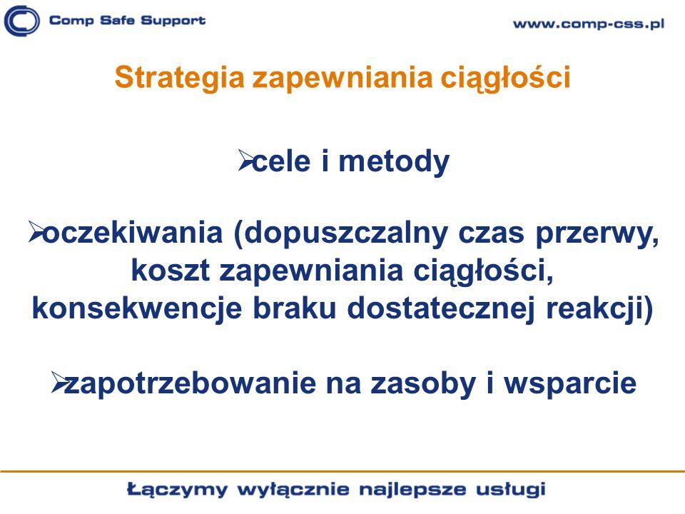 Strategia zapewniania ciągłości cele i metody oczekiwania (dopuszczalny czas przerwy, koszt zapewniania ciągłości, konsekwencje braku dostatecznej rea