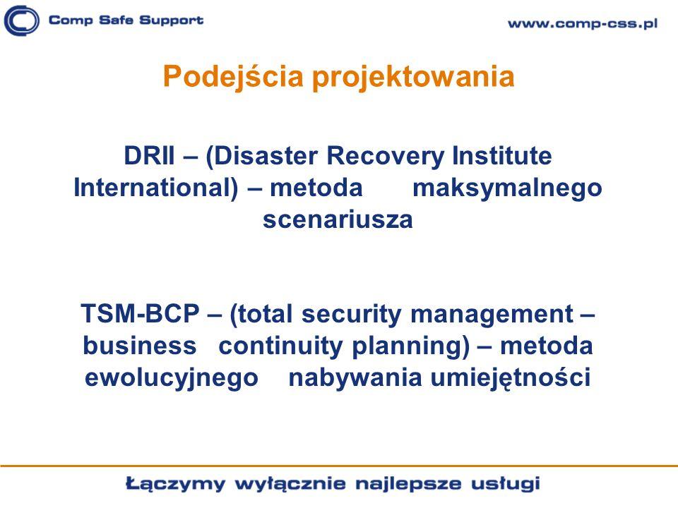 Podejścia projektowania DRII – (Disaster Recovery Institute International) – metoda maksymalnego scenariusza TSM-BCP – (total security management – bu