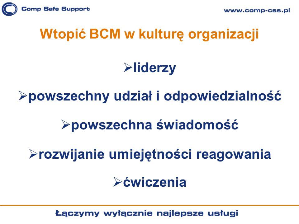 Wtopić BCM w kulturę organizacji liderzy powszechny udział i odpowiedzialność powszechna świadomość rozwijanie umiejętności reagowania ćwiczenia