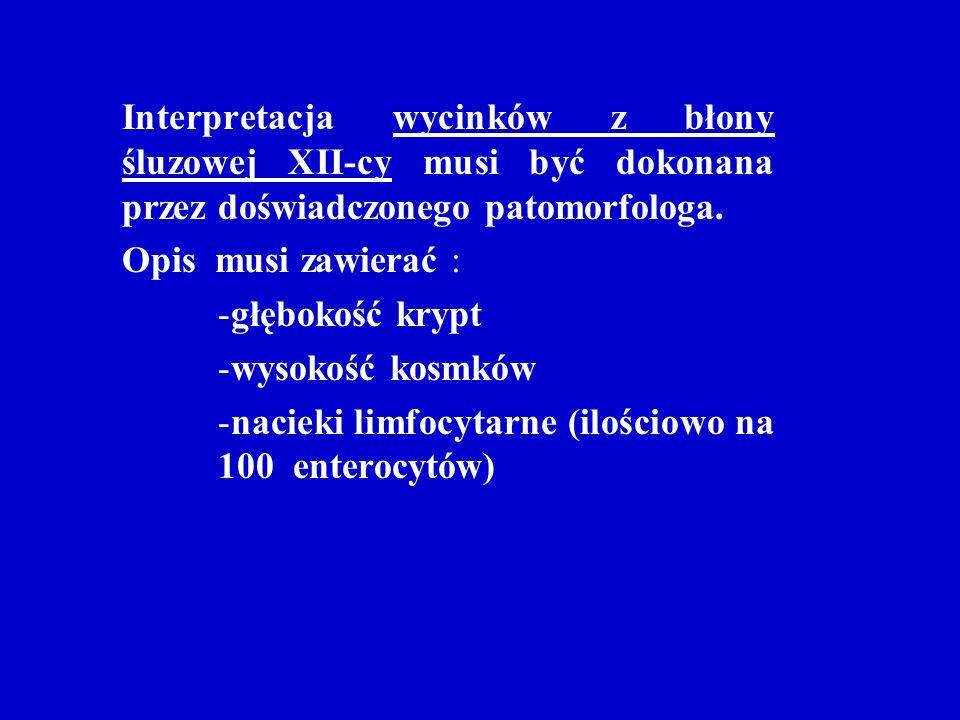 Interpretacja wycinków z błony śluzowej XII-cy musi być dokonana przez doświadczonego patomorfologa. Opis musi zawierać : -głębokość krypt -wysokość k