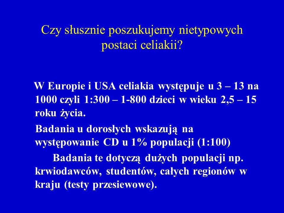 Czy słusznie poszukujemy nietypowych postaci celiakii? W Europie i USA celiakia występuje u 3 – 13 na 1000 czyli 1:300 – 1-800 dzieci w wieku 2,5 – 15