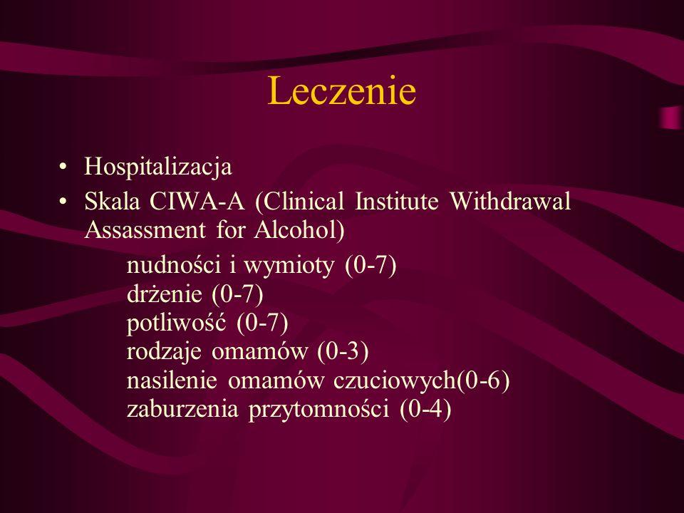 Leczenie utrudnienie kontaktu (0-7), lęk (0-7), pobudzenie ruchowe (0-7), zaburzenia myślenia (0-3), napady drgawkowe (0-7), bóle głowy (0-7), zaczerwienienie twarzy (0-2)