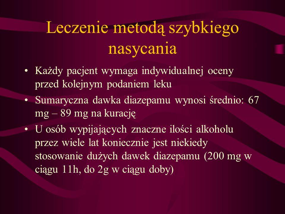Leczenie metodą szybkiego nasycania Potencjalne powikłania: depresja ośrodka oddechowego ortostatyczne spadki ciśnienia głębokie zaburzenia świadomości do śpiączki Zjawisko tolerancji – zmiany wrażliwości receptora benzodiazepinowego