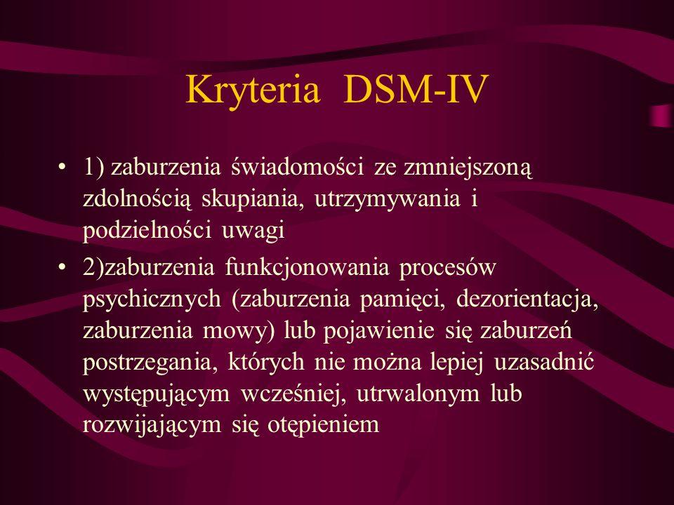 Kryteria DSM-IV 3)zaburzenia rozwijają się w krótkim czasie (zwykle kilka godzin lub dni) i mają tendencję do zmian nasilenia w ciągu dnia 4)na podstawie wywiadów, bad.