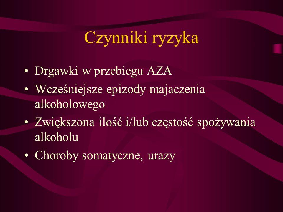 Leczenie Hospitalizacja Skala CIWA-A (Clinical Institute Withdrawal Assassment for Alcohol) nudności i wymioty (0-7) drżenie (0-7) potliwość (0-7) rodzaje omamów (0-3) nasilenie omamów czuciowych(0-6) zaburzenia przytomności (0-4)