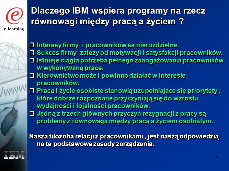 e-learning 3 Dlaczego IBM wspiera programy na rzecz równowagi między pracą a życiem ? Interesy firmy i pracowników są nierozdzielne. Interesy firmy i