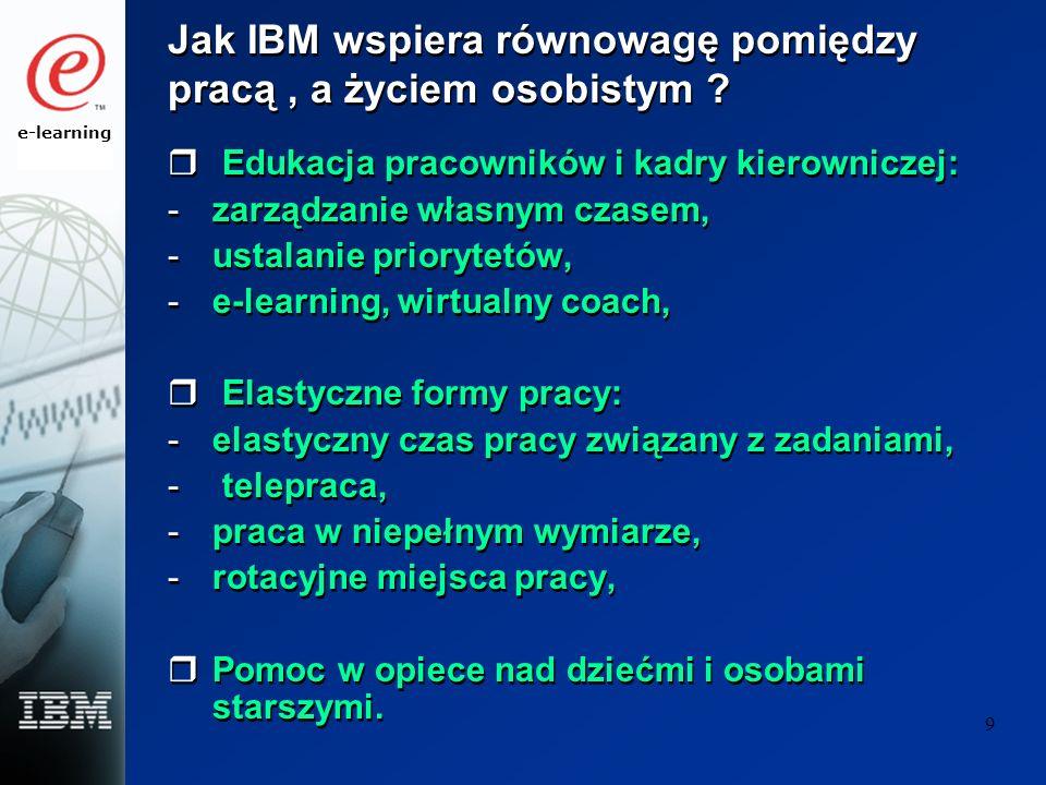 e-learning 9 Jak IBM wspiera równowagę pomiędzy pracą, a życiem osobistym ? Edukacja pracowników i kadry kierowniczej: -zarządzanie własnym czasem, -u