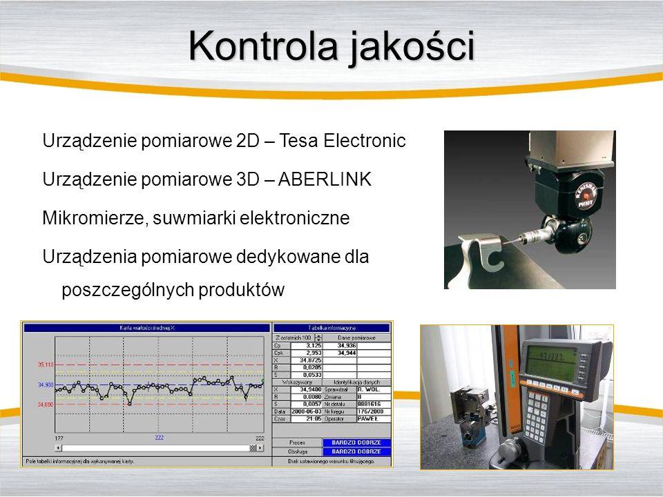 Kontrola jakości Urządzenie pomiarowe 2D – Tesa Electronic Urządzenie pomiarowe 3D – ABERLINK Mikromierze, suwmiarki elektroniczne Urządzenia pomiarow