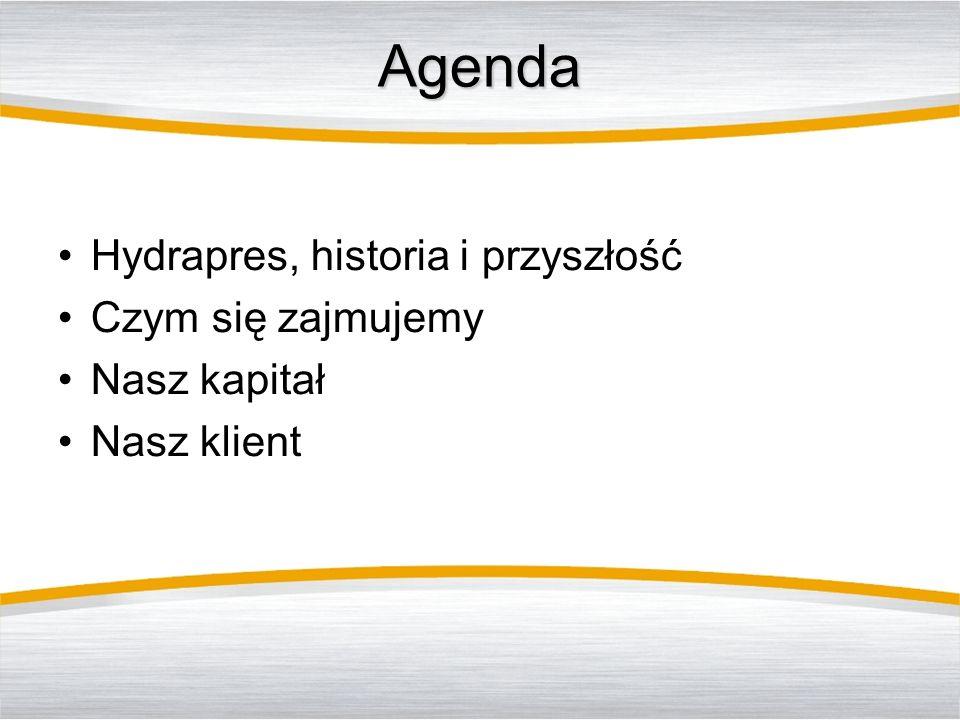 Agenda Hydrapres, historia i przyszłość Czym się zajmujemy Nasz kapitał Nasz klient