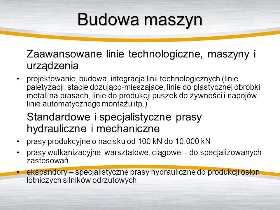 Budowa maszyn Zaawansowane linie technologiczne, maszyny i urządzenia projektowanie, budowa, integracja linii technologicznych (linie paletyzacji, sta