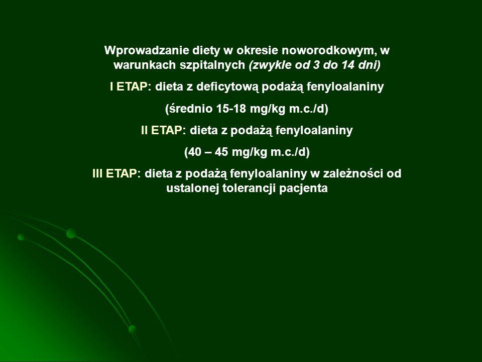 Wprowadzanie diety w okresie noworodkowym, w warunkach szpitalnych (zwykle od 3 do 14 dni) I ETAP: dieta z deficytową podażą fenyloalaniny (średnio 15
