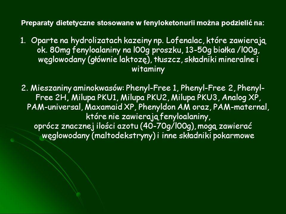Preparaty dietetyczne stosowane w fenyloketonurii można podzielić na: 1.Oparte na hydrolizatach kazeiny np. Lofenalac, które zawierają ok. 80mg fenylo