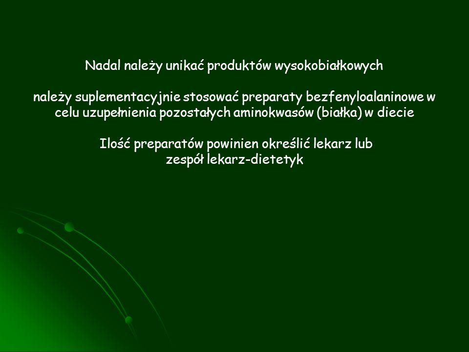 Nadal należy unikać produktów wysokobiałkowych należy suplementacyjnie stosować preparaty bezfenyloalaninowe w celu uzupełnienia pozostałych aminokwas