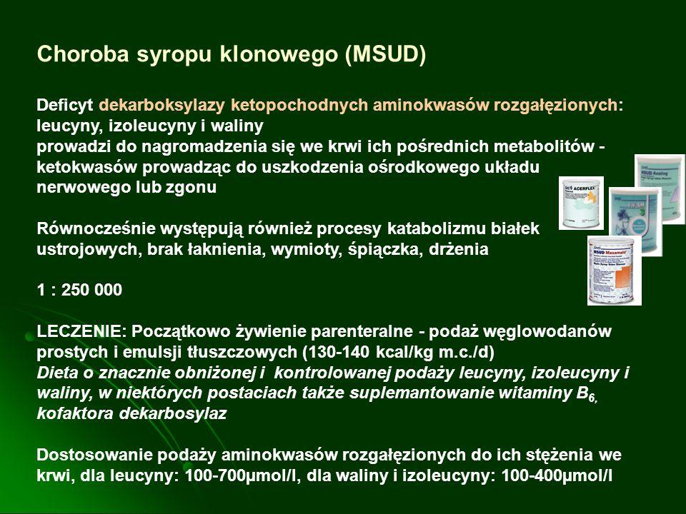 Choroba syropu klonowego (MSUD) Deficyt dekarboksylazy ketopochodnych aminokwasów rozgałęzionych: leucyny, izoleucyny i waliny prowadzi do nagromadzen