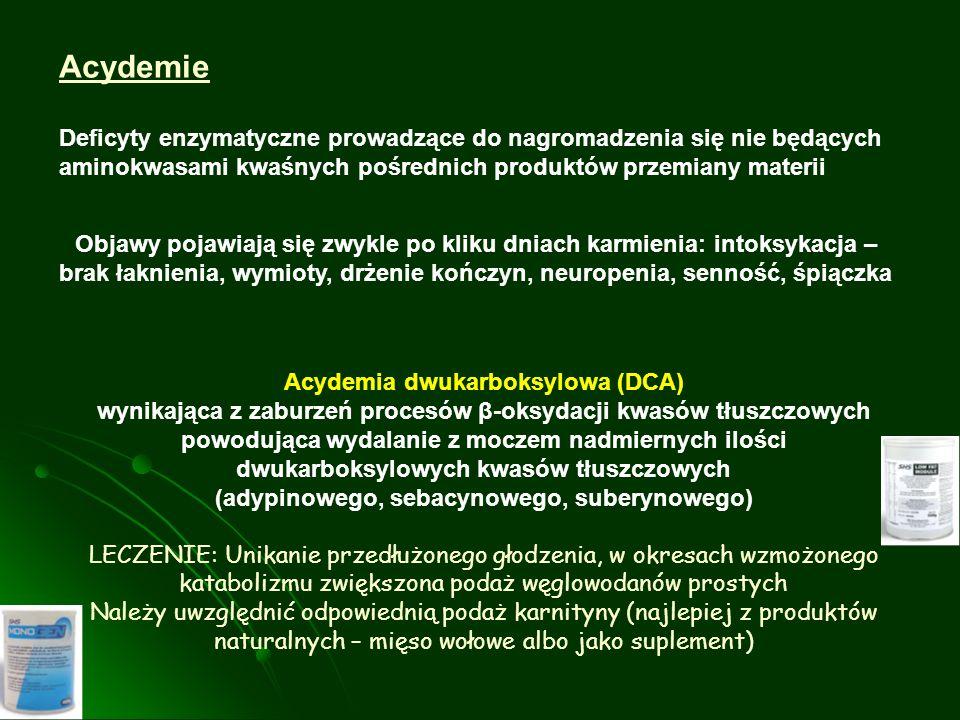 Acydemie Deficyty enzymatyczne prowadzące do nagromadzenia się nie będących aminokwasami kwaśnych pośrednich produktów przemiany materii Acydemia dwuk