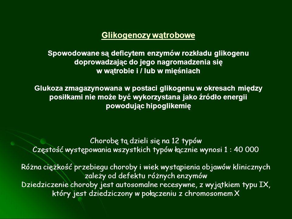 Glikogenozy wątrobowe Spowodowane są deficytem enzymów rozkładu glikogenu doprowadzając do jego nagromadzenia się w wątrobie i / lub w mięśniach Gluko
