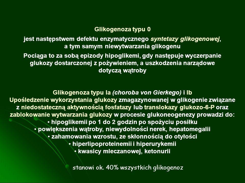 Glikogenoza typu Ia (choroba von Gierkego) i Ib Upośledzenie wykorzystania glukozy zmagazynowanej w glikogenie związane z niedostateczną aktywnością f