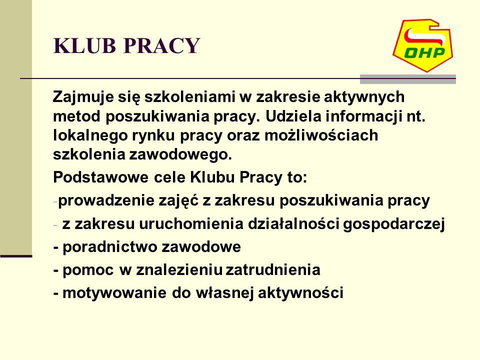 KLUB PRACY Zajmuje się szkoleniami w zakresie aktywnych metod poszukiwania pracy. Udziela informacji nt. lokalnego rynku pracy oraz możliwościach szko