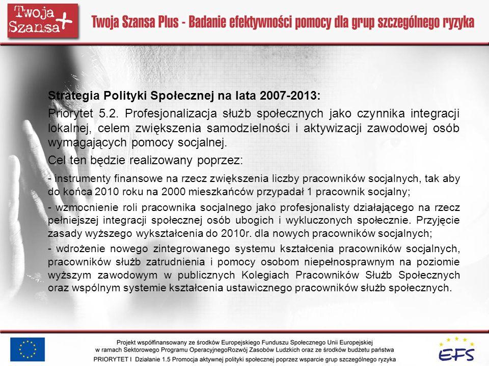 Strategia Polityki Społecznej na lata 2007-2013: Priorytet 5.2. Profesjonalizacja służb społecznych jako czynnika integracji lokalnej, celem zwiększen