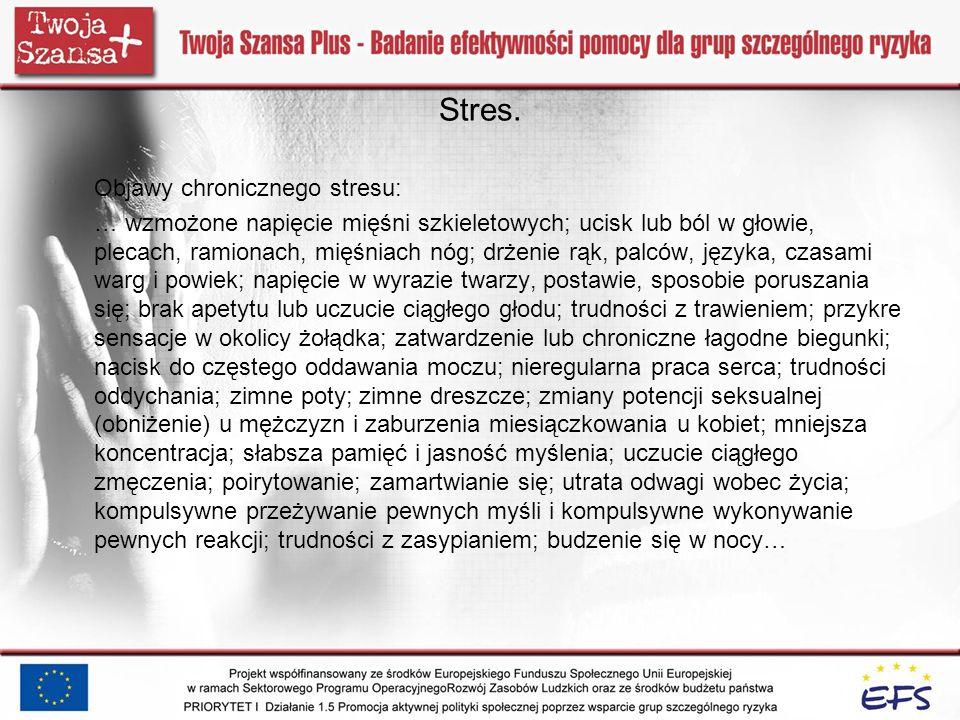 Stres. Objawy chronicznego stresu: … wzmożone napięcie mięśni szkieletowych; ucisk lub ból w głowie, plecach, ramionach, mięśniach nóg; drżenie rąk, p