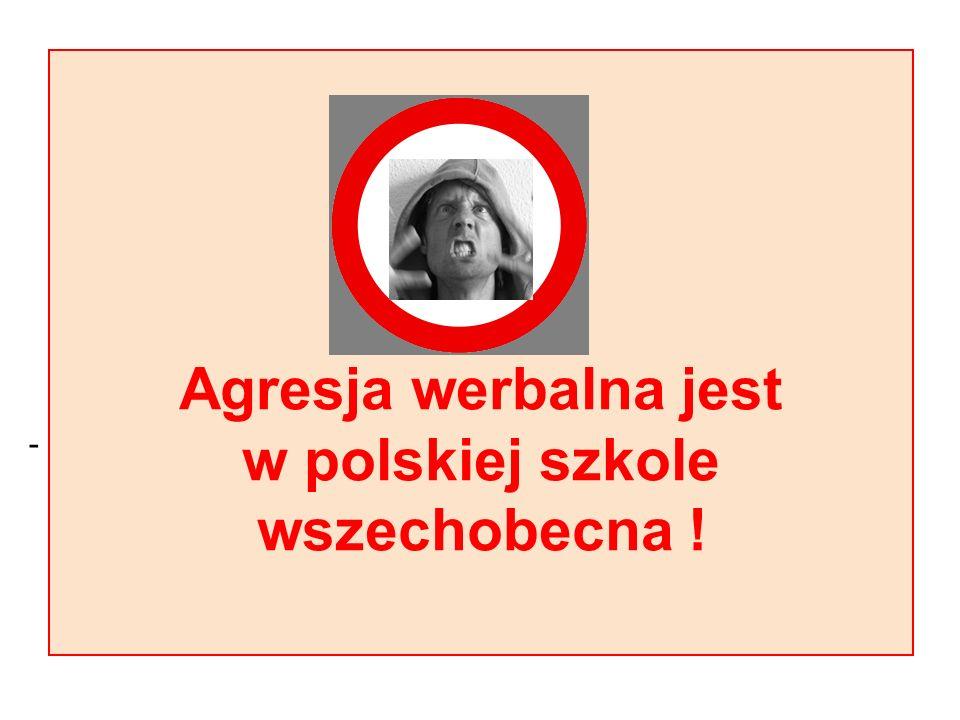 - Agresja werbalna jest w polskiej szkole wszechobecna !