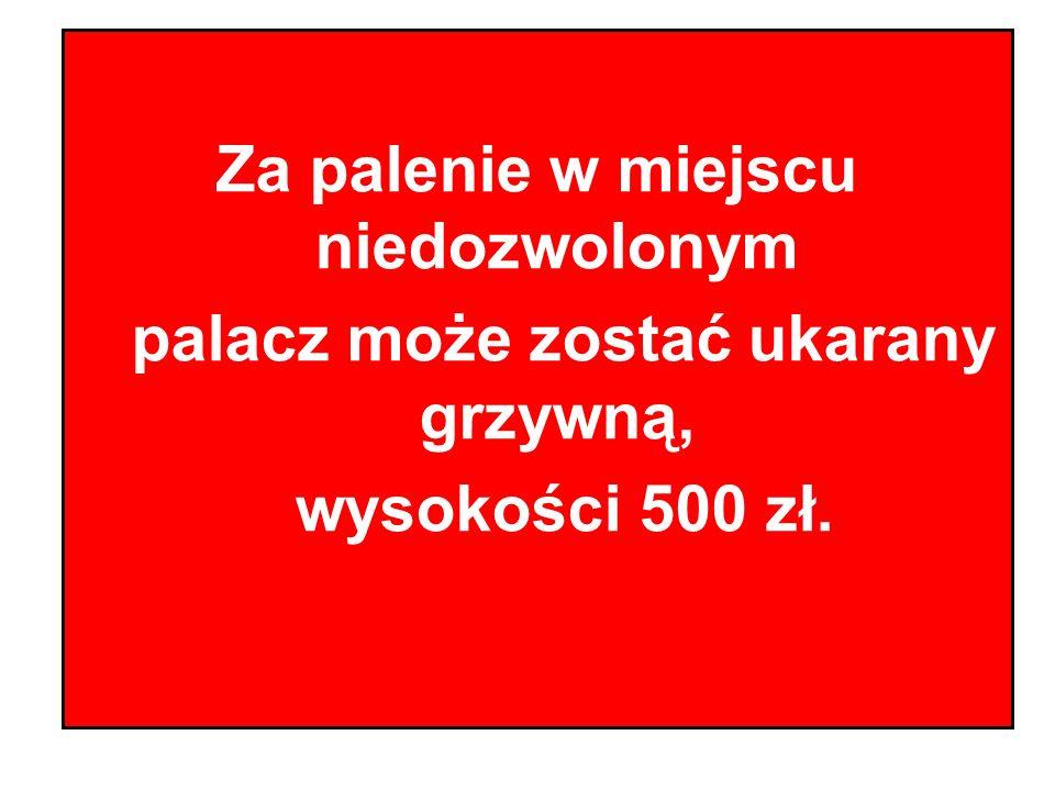 Za palenie w miejscu niedozwolonym palacz może zostać ukarany grzywną, wysokości 500 zł.