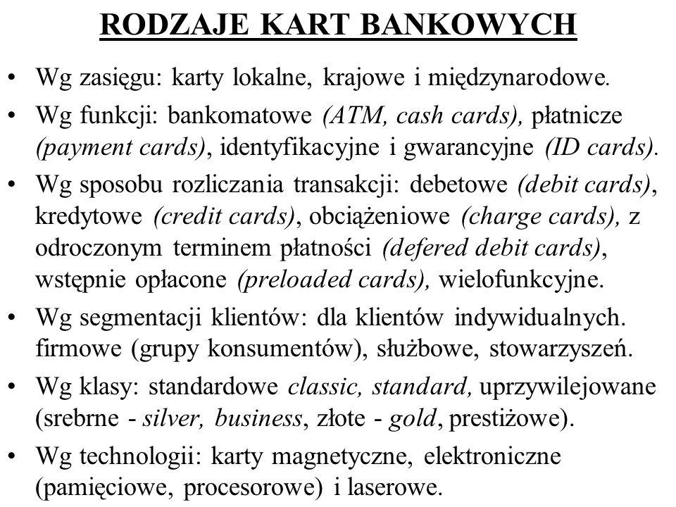 RODZAJE KART BANKOWYCH Wg zasięgu: karty lokalne, krajowe i międzynarodowe. Wg funkcji: bankomatowe (ATM, cash cards), płatnicze (payment cards), iden