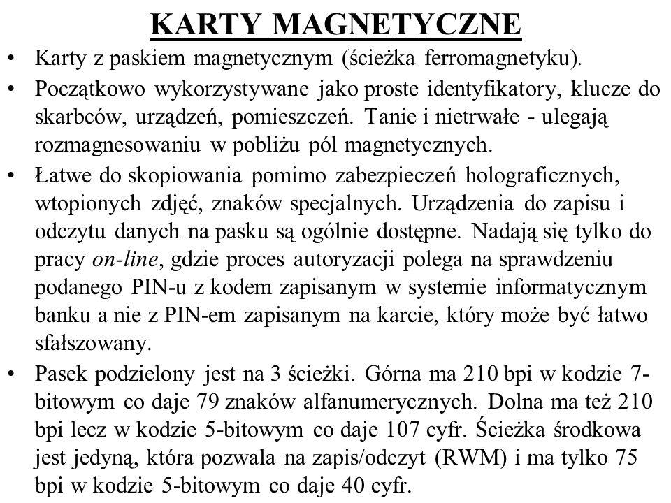 KARTY MAGNETYCZNE Karty z paskiem magnetycznym (ścieżka ferromagnetyku). Początkowo wykorzystywane jako proste identyfikatory, klucze do skarbców, urz