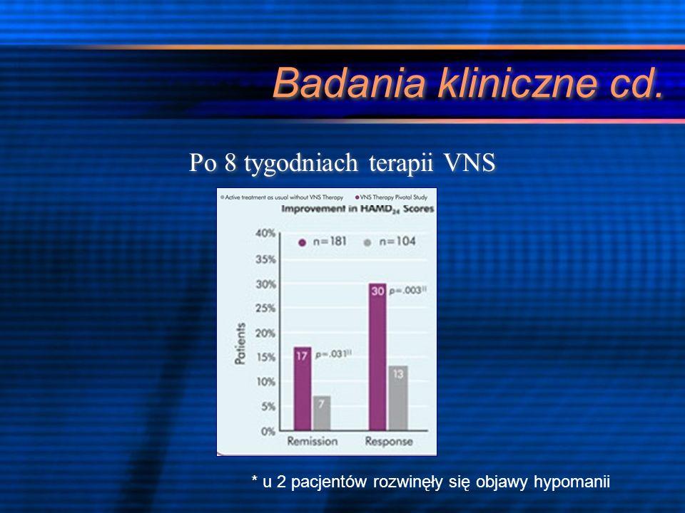 FDA- badanie wieloośrodkowe na dużą skalę D-02 [2002] 2 faza: o Podwójnie ślepe randomizowane badanie w ostrej fazie choroby o Długoterminowa obserwacja 235 pacjentów z TRD leczonych VNS przez ponad 10 tygodnii Leczenie ostrej fazy choroby nie okazało się statystycznie bardziej skuteczne w porównaniu z placebo Być może długoterminowe leczenie przyniesie bardziej obiecujące rezultaty.
