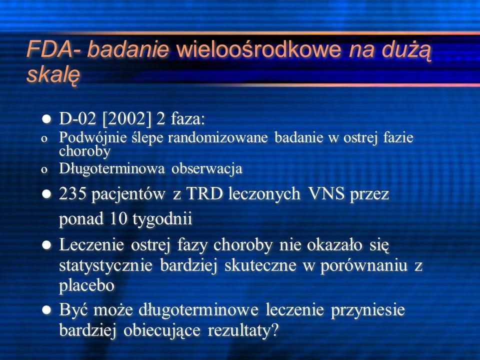 FDA- badanie wieloośrodkowe na dużą skalę D-02 [2002] 2 faza: o Podwójnie ślepe randomizowane badanie w ostrej fazie choroby o Długoterminowa obserwac