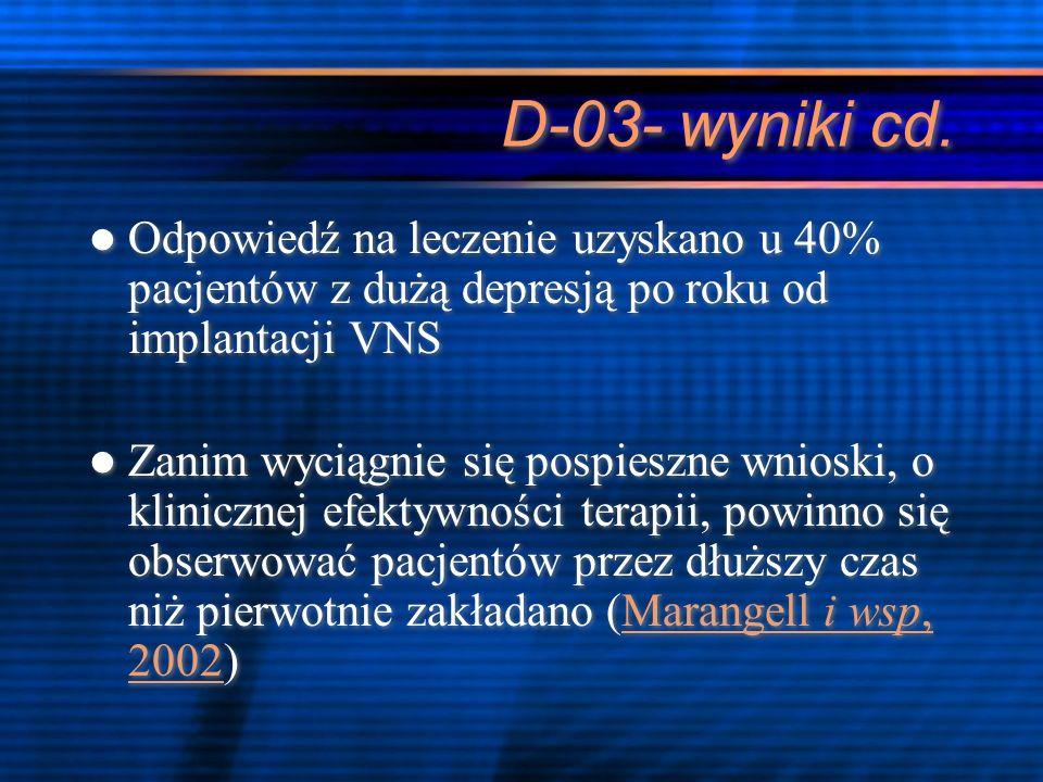 D-03- wyniki cd. Odpowiedź na leczenie uzyskano u 40% pacjentów z dużą depresją po roku od implantacji VNS Zanim wyciągnie się pospieszne wnioski, o k