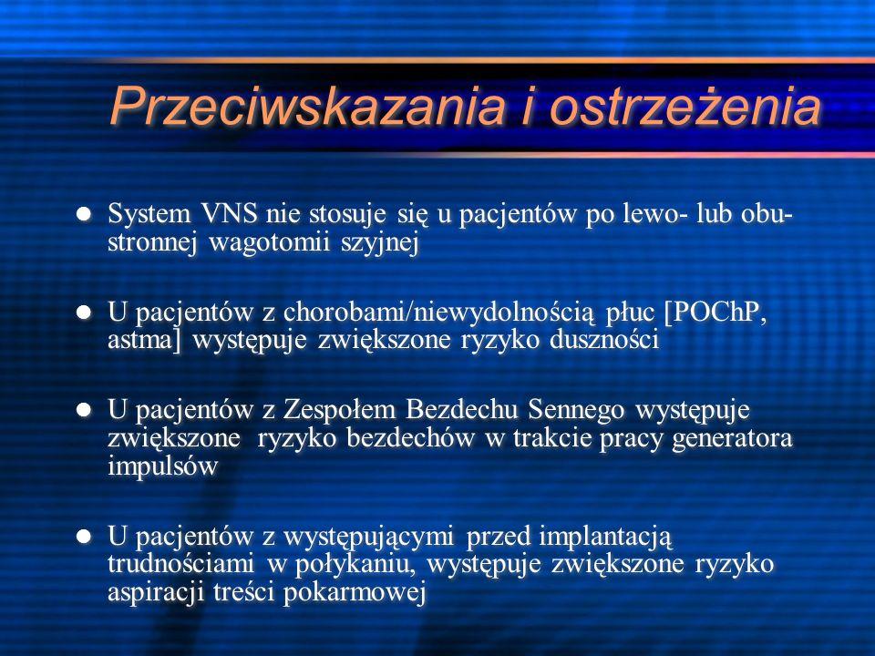 Wnioski VNS jest klinicznie udowodnioną skuteczną terapią epilepsji opornej na leczenie Badania pilotażowe sugerują, że ma ono także właściwości antydepresyjne Konieczne jest prowadzenie dalszych badań w celu jednoznacznej oceny skuteczności VNS VNS jest klinicznie udowodnioną skuteczną terapią epilepsji opornej na leczenie Badania pilotażowe sugerują, że ma ono także właściwości antydepresyjne Konieczne jest prowadzenie dalszych badań w celu jednoznacznej oceny skuteczności VNS