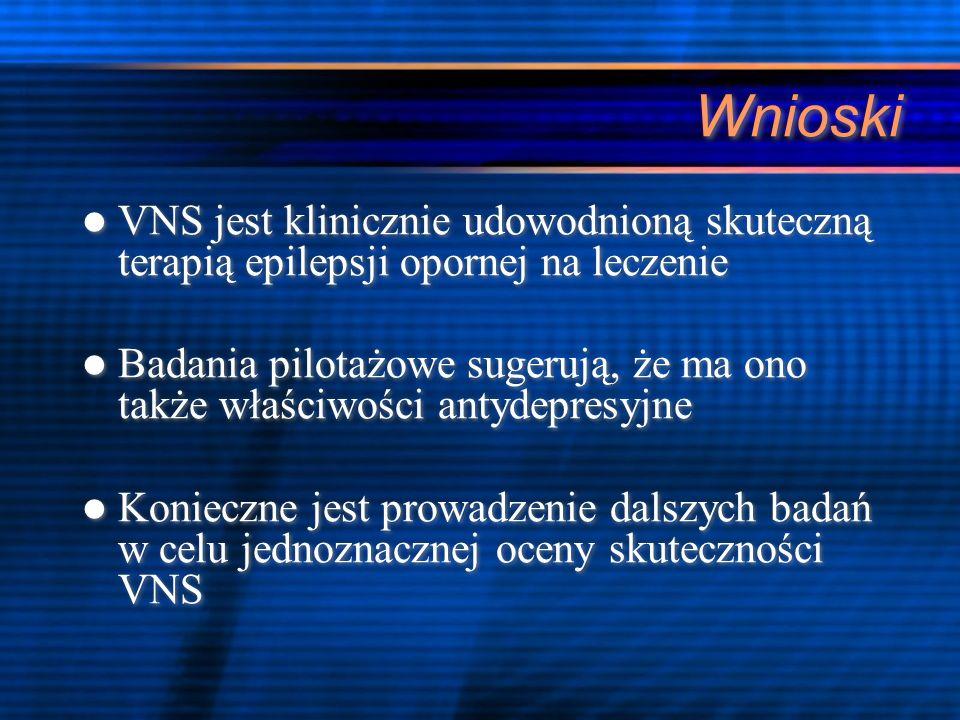 Wnioski VNS jest klinicznie udowodnioną skuteczną terapią epilepsji opornej na leczenie Badania pilotażowe sugerują, że ma ono także właściwości antyd