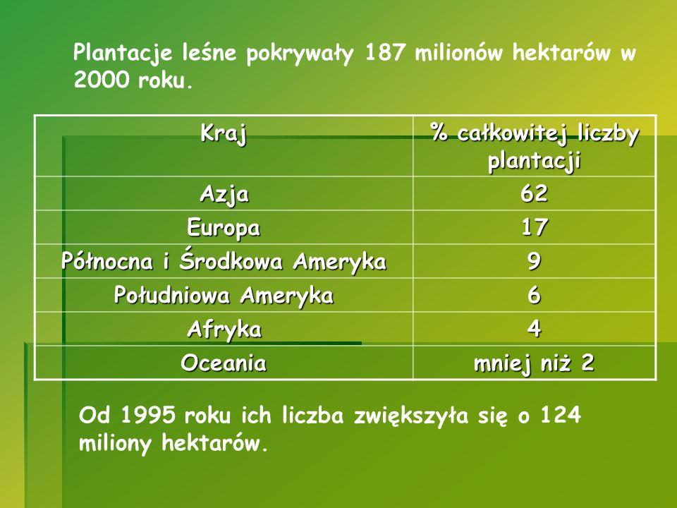 Plantacje leśne pokrywały 187 milionów hektarów w 2000 roku. Kraj % całkowitej liczby plantacji Azja62 Europa17 Północna i Środkowa Ameryka 9 Południo