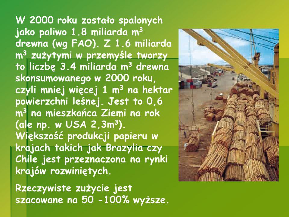 W 2000 roku zostało spalonych jako paliwo 1.8 miliarda m 3 drewna (wg FAO). Z 1.6 miliarda m 3 zużytymi w przemyśle tworzy to liczbę 3.4 miliarda m 3