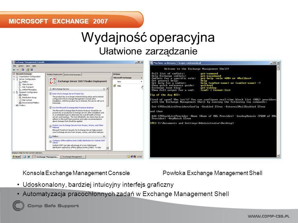 MICROSOFT EXCHANGE 2007 Udoskonalony, bardziej intuicyjny interfejs graficzny Automatyzacja pracochłonnych zadań w Exchange Management Shell Konsola Exchange Management ConsolePowłoka Exchange Management Shell Wydajność operacyjna Ułatwione zarządzanie
