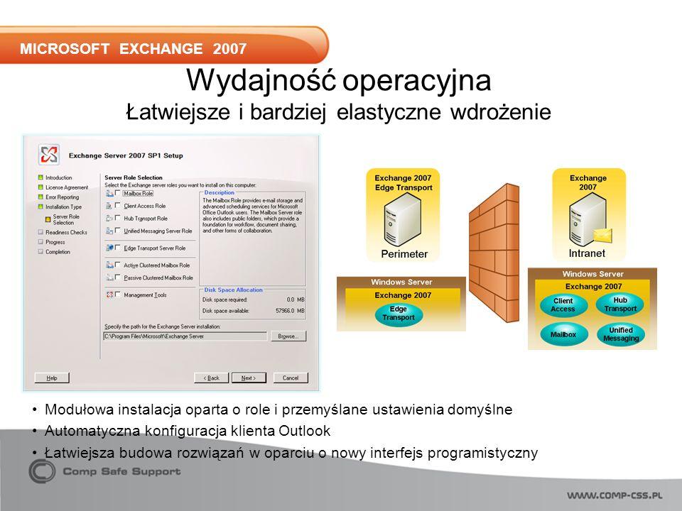 MICROSOFT EXCHANGE 2007 Modułowa instalacja oparta o role i przemyślane ustawienia domyślne Automatyczna konfiguracja klienta Outlook Łatwiejsza budowa rozwiązań w oparciu o nowy interfejs programistyczny Wydajność operacyjna Łatwiejsze i bardziej elastyczne wdrożenie