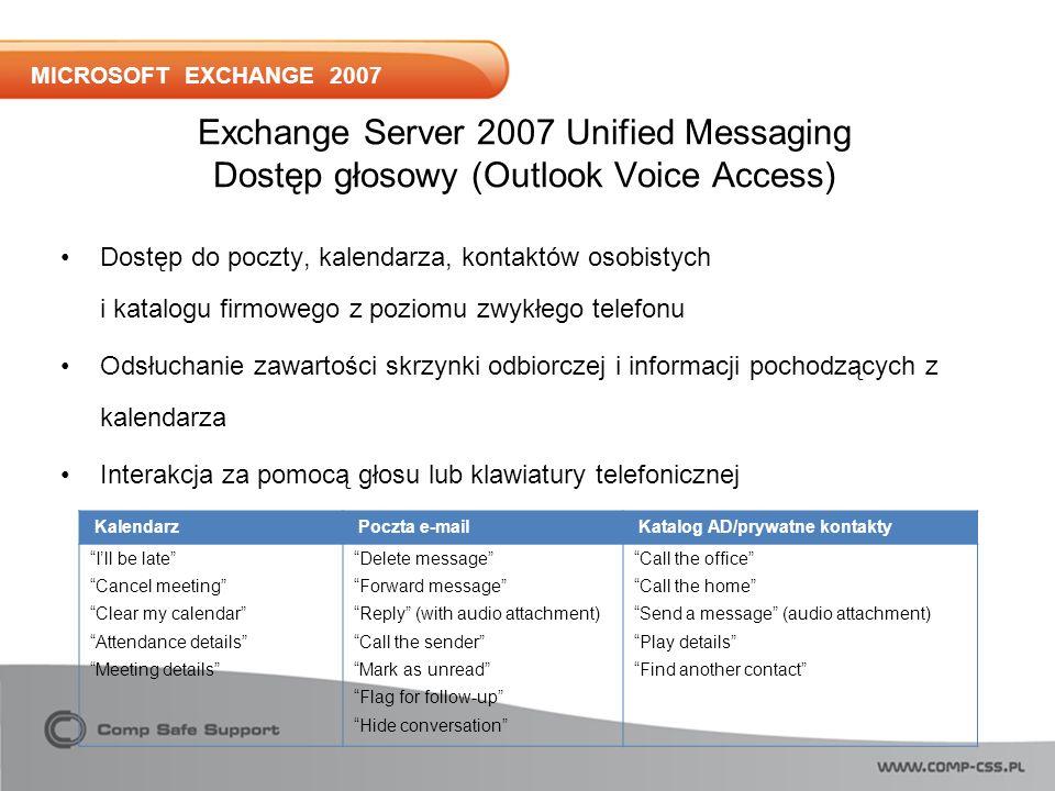 MICROSOFT EXCHANGE 2007 Exchange Server 2007 Unified Messaging Dostęp głosowy (Outlook Voice Access) Dostęp do poczty, kalendarza, kontaktów osobistych i katalogu firmowego z poziomu zwykłego telefonu Odsłuchanie zawartości skrzynki odbiorczej i informacji pochodzących z kalendarza Interakcja za pomocą głosu lub klawiatury telefonicznej Kalendarz Poczta e-mail Katalog AD/prywatne kontakty Ill be late Cancel meeting Clear my calendar Attendance details Meeting details Delete message Forward message Reply (with audio attachment) Call the sender Mark as unread Flag for follow-up Hide conversation Call the office Call the home Send a message (audio attachment) Play details Find another contact