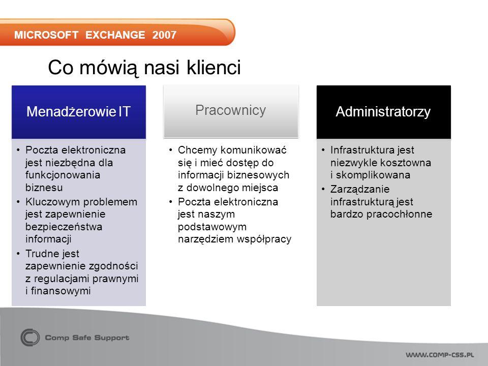 MICROSOFT EXCHANGE 2007 Menadżerowie IT Poczta elektroniczna jest niezbędna dla funkcjonowania biznesu Kluczowym problemem jest zapewnienie bezpieczeństwa informacji Trudne jest zapewnienie zgodności z regulacjami prawnymi i finansowymi Pracownicy Chcemy komunikować się i mieć dostęp do informacji biznesowych z dowolnego miejsca Poczta elektroniczna jest naszym podstawowym narzędziem współpracy Administratorzy Infrastruktura jest niezwykle kosztowna i skomplikowana Zarządzanie infrastrukturą jest bardzo pracochłonne Co mówią nasi klienci