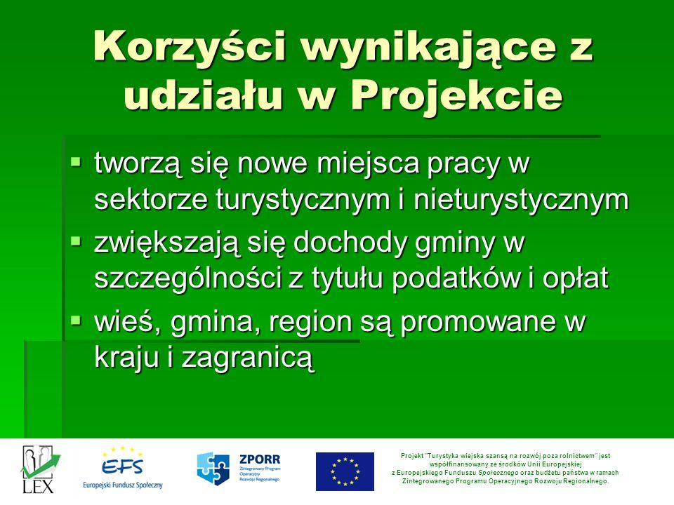 Korzyści wynikające z udziału w Projekcie tworzą się nowe miejsca pracy w sektorze turystycznym i nieturystycznym tworzą się nowe miejsca pracy w sekt