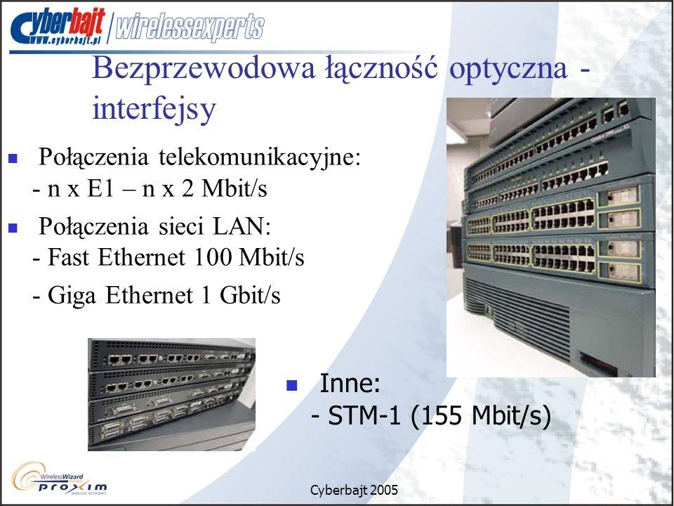 Cyberbajt 2005 Bezprzewodowa łączność optyczna - interfejsy Połączenia telekomunikacyjne: - n x E1 – n x 2 Mbit/s Połączenia sieci LAN: - Fast Ethernet 100 Mbit/s - Giga Ethernet 1 Gbit/s Inne: - STM-1 (155 Mbit/s)