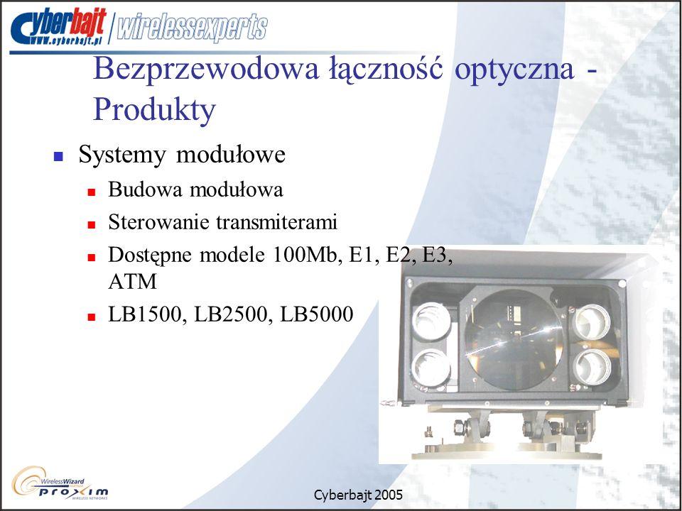 Cyberbajt 2005 Bezprzewodowa łączność optyczna - Produkty Systemy modułowe Budowa modułowa Sterowanie transmiterami Dostępne modele 100Mb, E1, E2, E3, ATM LB1500, LB2500, LB5000